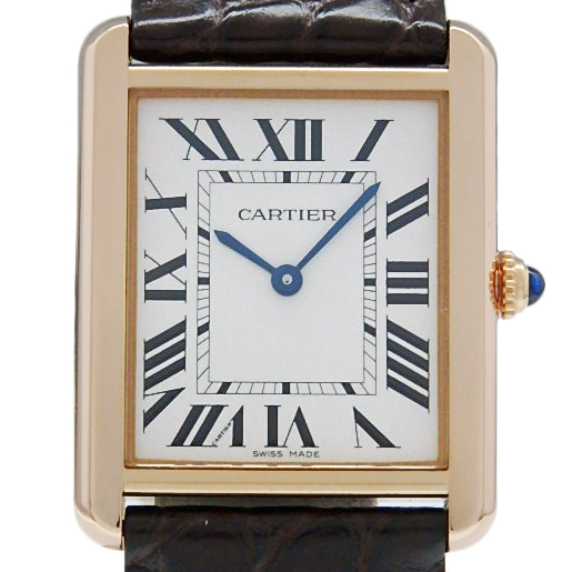 【DS KATOU】 K18PG/SS Cartier カルティエ タンクソロ LM W5200025 メンズ クォーツ シルバー文字盤  【質屋出店】 【中古】