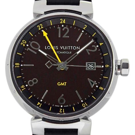 【DS KATOU】 ルイ・ヴィトン タンブール GMT Q1155 メンズ オートマ ブラウン文字盤 【質屋出店】 【中古】