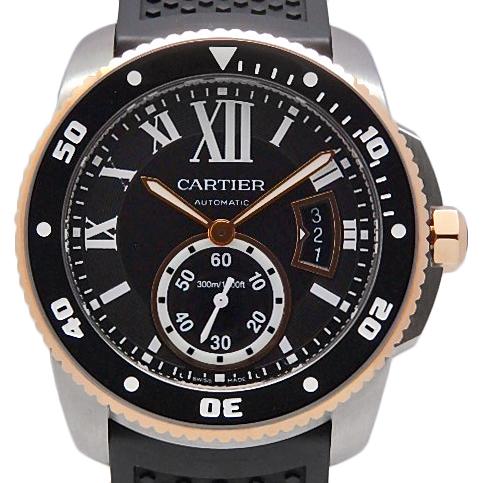 【DS KATOU】 Cartier カリブル ドゥ カルティエ ダイバー PGコンビ W7100055 メンズ オートマ 黒文字盤  【中古】