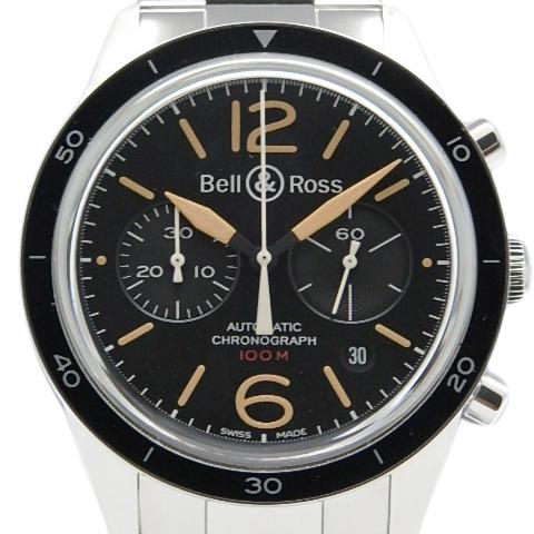 【DS KATOU】 Bell&Ross ベル&ロス ヴィンテージ スポーツ ヘリテージ BR126 クロノグラフ オートマ メンズ 裏スケ 黒文字盤 【中古】