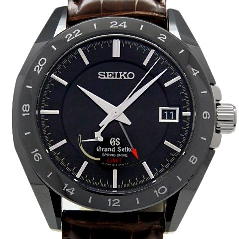 【DS KATOU】 SEIKO セイコー GS グランドセイコー SBGE037 9R16 GMT 世界500本限定 スプリングドライブ ブラックセラミックス 裏スケ メンズ オートマ 黒文字盤  【中古】