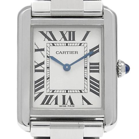 【DS KATOU】 Cartier カルティエ タンクソロ SM W5200013 革ベルト付き レディース クォーツ シルバー文字盤  【質屋出店】 【中古】