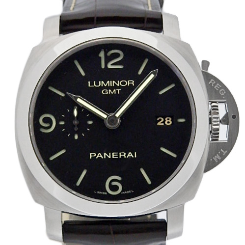 【DS KATOU】 PANERAI パネライ ルミノール1950  GMT PAM00320 メンズ オートマ O番 黒文字盤 【中古】