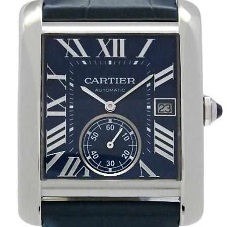 【DS KATOU】 Cartier カルティエ タンクMC WSTA0010 メンズ 裏スケ オートマ 青文字盤  【中古】