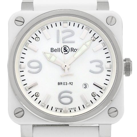 【DS KATOU】 Bell&Ross ベル&ロス BR03-92 ホワイトセラミック デイト メンズ オートマ ホワイトシェル文字盤 【中古】