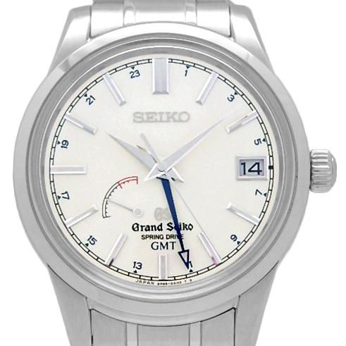 【DS KATOU】 SEIKO セイコー GS グランドセイコー SBGE025 9R66 GMT スプリングドライブ 裏スケ メンズ オートマ シルバー文字盤  【中古】