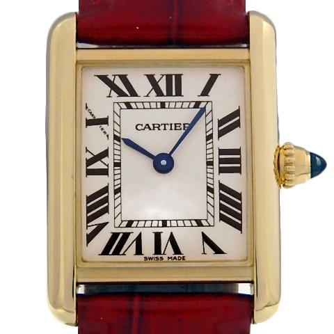 【DS KATOU】 K18YG Cartier カルティエ タンクルイ SM W1529856 クォーツ レディース アイボリー文字盤 【中古】