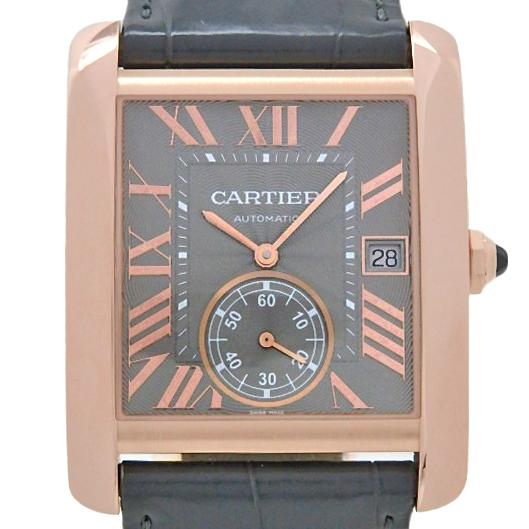【DS KATOU】K18PG Cartier カルティエ タンクMC WGTA0014 メンズ 裏スケ オートマ グレー文字盤  【中古】