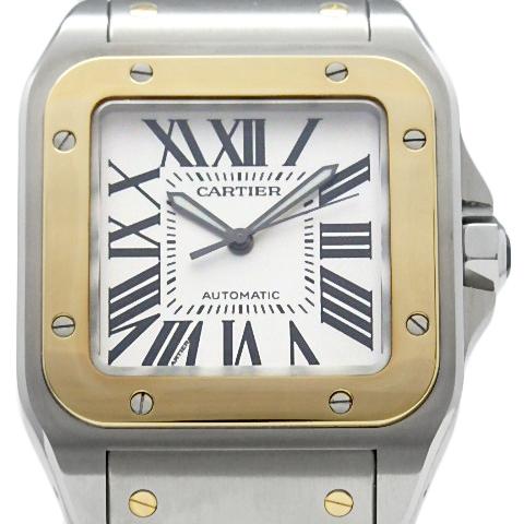 【DS KATOU】 K18YG Cartier カルティエ サントス100 LM W200728G YGコンビ メンズ オートマ シルバー文字盤  【中古】