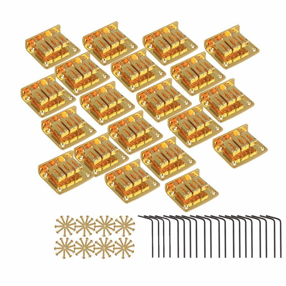 20個入 ◆セール特価品◆ 3弦ギターブリッジ エレキギター 亜鉛合金製 ゴールドメッキ 高品質 シガーボックスギター用