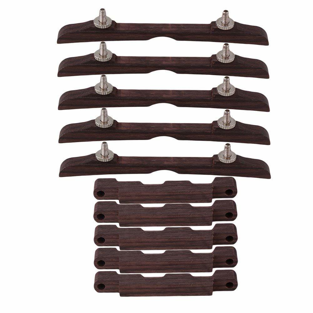 5個入 マンドリン用ブリッジ 高さ調整可能 ローズウッド製 年中無休 弦楽器アクセサリ 期間限定で特別価格 ブラウン