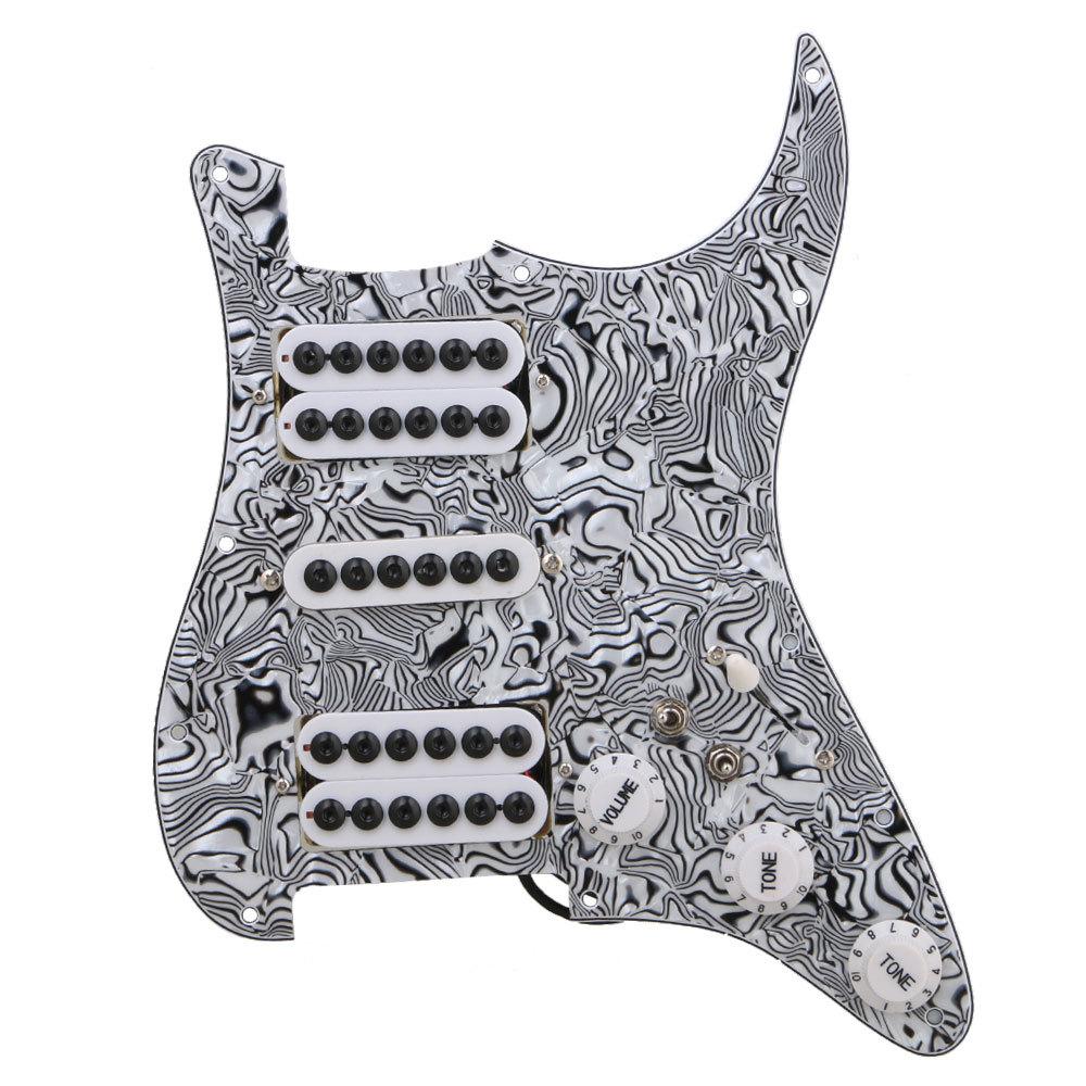ギターピックガード 格安激安 HSH 配線済み エレキギター用 ゼブラ 授与 プラスチック製 ブラックホワイト 3プライ