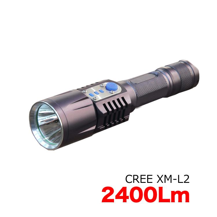 懐中電灯 LEDライト 2400ルーメン CREE社 XM-L2 LED USB充電アダプター付き 充電式 防災グッズ 引出物 自転車用ライトホルダー ライトケース 3400mAh バッテリー 保護回路付き電池 おすすめ特集 1本用充電器付き USB型 1