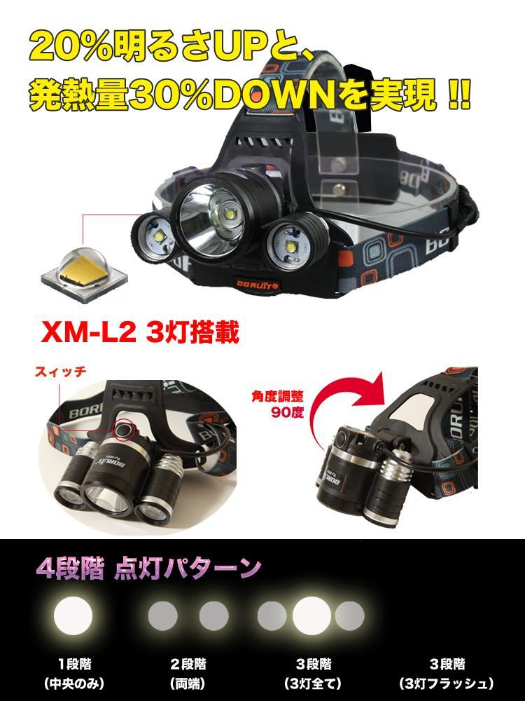 最迟 2015年模型 CREE XM L2 RJ5001 前照灯两个 6000 流明充电器 (在审查中提出)