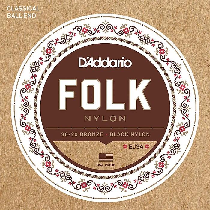 DT D'Addario 新品未使用 EJ34 Folk Nylon 80 Trebles Bronze 20 倉庫 Black ダダリオ クラシック弦