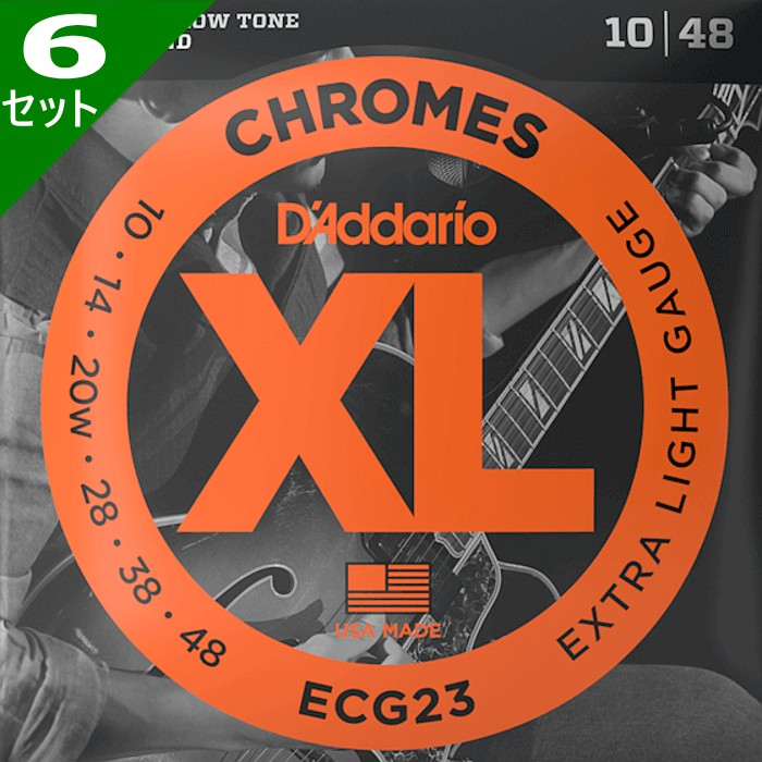 【DT】6セット・D'Addario ECG23 Flat Wound 3弦ワウンド 010-048 ダダリオ フラットラウンド エレキギター弦