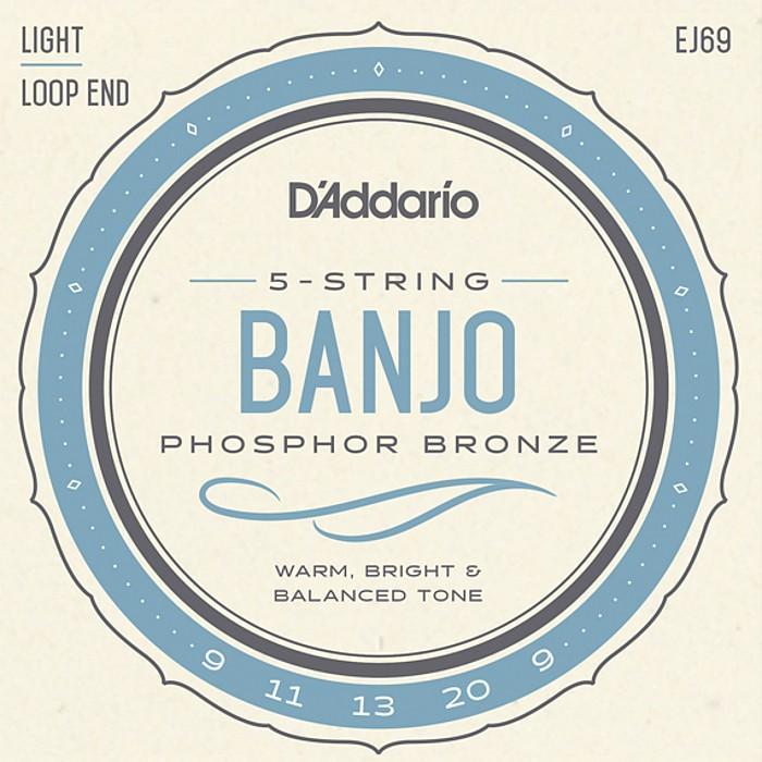 D'Addario 送料無料限定セール中 EJ69 5-string Banjo Light Phosphor ダダリオ 009-020 Bronze 即納送料無料 バンジョー弦