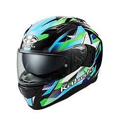 オージーケーカブト 587376 フルフェイスヘルメット KAMUI 3 STARS ブラックグリーン M 587376