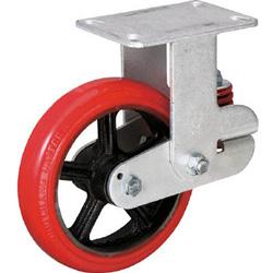 イノアック KTU-200WK-GS イノアック バネ付き牽引車輪(ウレタン車輪タイプ 固定金具付 Φ200) KTU200WKGS