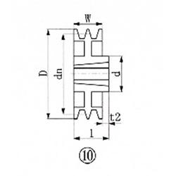 エバオン ブッシングプーリー SPB 230mm 溝数2 SPB2302 SPB2302