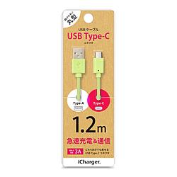 PGA USB Type-C Type-A コネクタ USBケーブル オンライン限定商品 1.2m PGCUC12M15 18%OFF PG-CUC12M15 iCharger グリーン