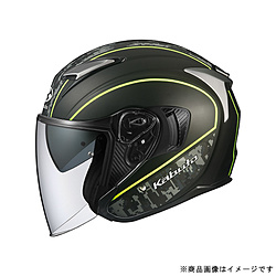 オージーケーカブト 584443 ジェットヘルメット EXCEED DELIE M フラットカモイエロー 584443