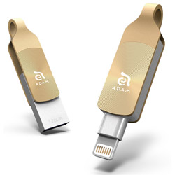 ADAMELEMENTS USBメモリ iKlips DUO+ ゴールド ADRAD128GKLDPGAJ [128GB /USB3.1 /USB TypeA+Lightning /回転式] ADRAD128GKLDPGAJ