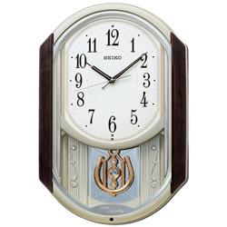SEIKO からくり時計 【ウェーブシンフォニー】 茶マーブル模様 AM264B [電波自動受信機能有] AM264B