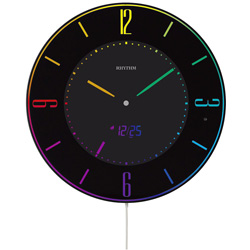 リズム時計 電波掛時計 8RZ197SR02 黒 8RZ197SR02