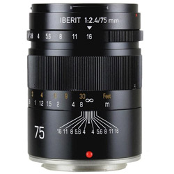KIPON IBERIT 75mm/f2.4 ブラック [FUJIFILM Xマウント] 中望遠レンズ(MFレンズ) IBERIT752.4FXBK