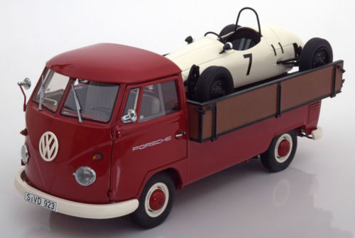 Schuco シュコー 1:18 VW T1 Westfalia ピックアップ とPorsche Formula Vau レーシングカーVolkswagen VW T1 Westfalia-Pritsche Porsche with formula vau race car #7