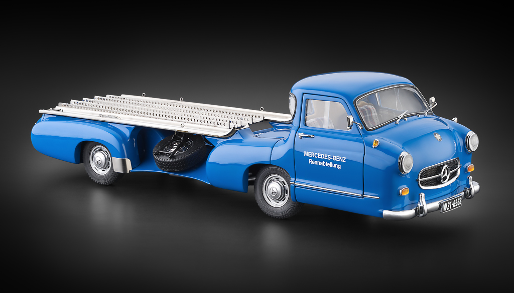 CMC 1:18 1955年モデル メルセデスベンツ カートランスポーター Blue Wonder Mercedes-Benz Racing Car Transporter 1/18 by CMC