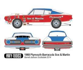 Highway 61 1:18 1968年モデル プリムス バラクーダ Sox & Martin チューンモデル バレットジャクソン オークション 1968 PLYMOUTH BARRACUDA HEMI Sox & Martin FACTORY RACE CAR 1/18 by Highway 61