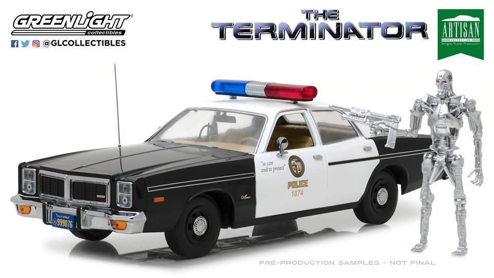 Greenlight 1:18スケール 1977年モデル ダッジ モナコ ポリスカー ターミネーター フィギャー付き 1984年映画「ターミネーター」1977 Dodge Monaco Metropolitan Police with 1:18 T-800 Endoskeleton Figure The Terminator 1984 1/18 by Greenlight NEW