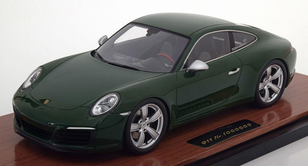 日本未発売 ディーラーモデル 1/18 2017年モデル ポルシェ 911 991 Carrera S 100万台生産記念モデル グリーン アクリルケース付Porsche 911 (991 II) Carrera S 1000000th Porsche 911 2017 with showcase green 1:18 by Porsche AG