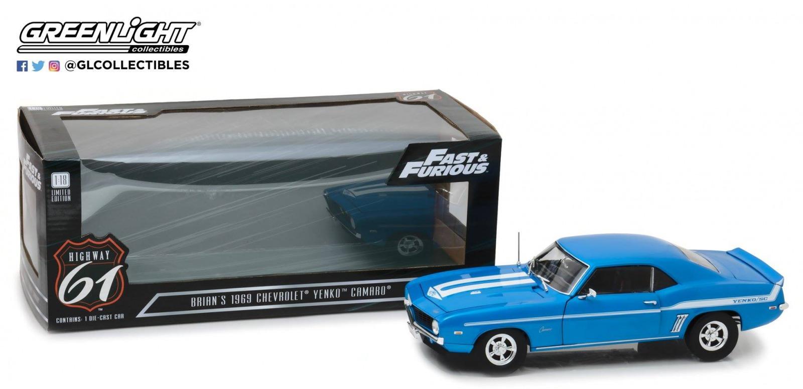 "Highway 61 1:18電影""粗礦速度X2""1969年moderushiborekamaro Yenko 427藍色1969 Chevrolet Yenko 427 Camaro 2Fast 2Furious blue with white stripes 1/18 by Highway 61"