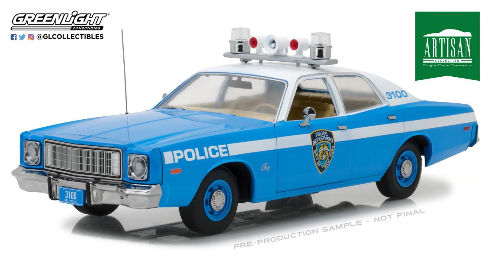 代引き人気 Greenlight Model グリーンライト 1/18 Police1975 Fury 1975年モデル プリムス フューリー New York City Police1975 Plymouth Fury New York City Police Department (NYPD), blue/white 1/18 Diecast Model Car by Greenlight NEW, 株式会社GSC:1552b257 --- fabricadecultura.org.br