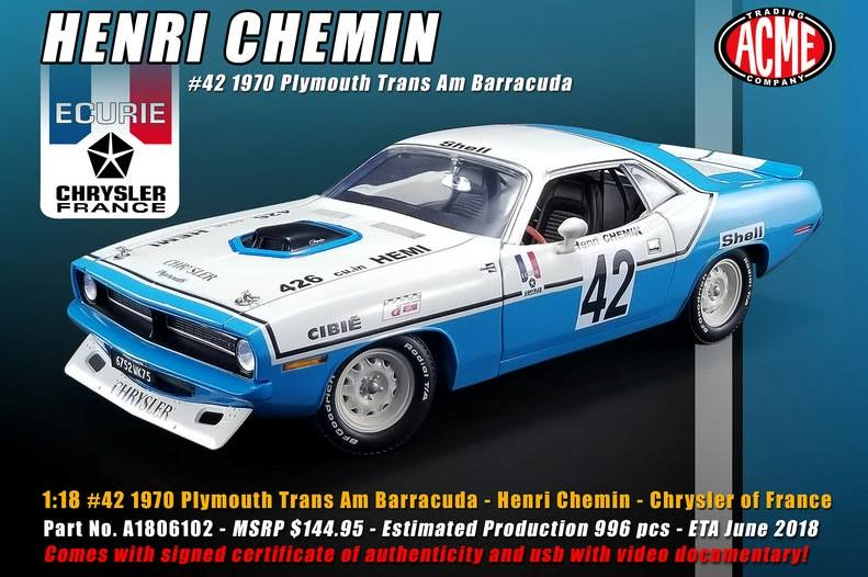 ACME 1/18 1970/72年 プリムス バラクーダChrysler of France's 1970 1972 Plymouth Trans Am Barracuda 1/18 by ACME NEW