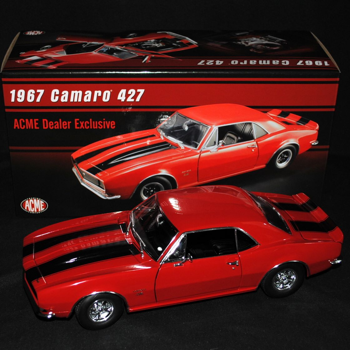 ディーラーモデル ACME 1:18 1967年モデル シボレー カマロ 427 SS レッド1967 Chevrolet Camaro 427 Red Acme Dealer Exclusive Limited Edition to 604 pieces Worldwide 1/18 Diecast Model Car by Acme