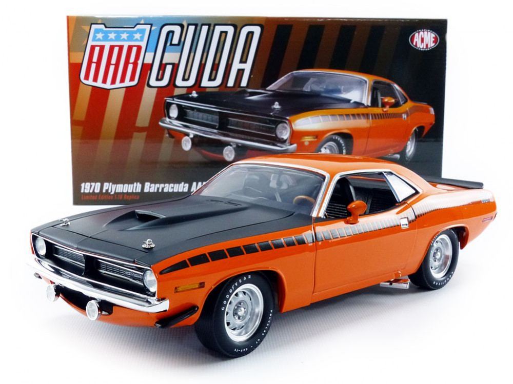 ACME 1/18 1970年 プリムス バラクーダ AAR(All American Racers) ストリート バージョン ビタミンC オレンジ1970 Plymouth AAR Cuda Vitamin C Orange Limited Edition to 1254 pieces Worldwide 1/18 Diecast Model Car by Acme USA