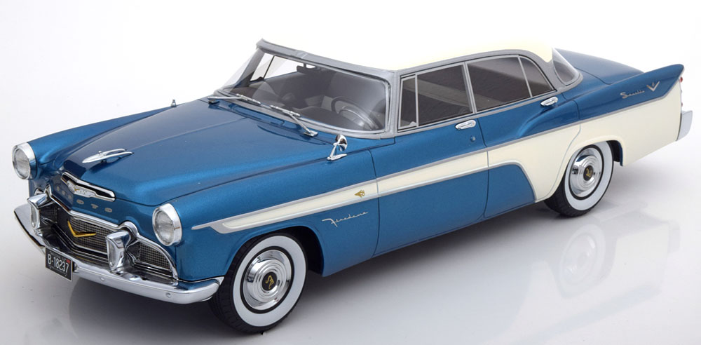 BOS Models 1:18 1956年モデル デソート ファイアドーム ブルー1956 Desoto Firedome 4-Door Seville 1/18 metallic-blau/weiss by BOS Models
