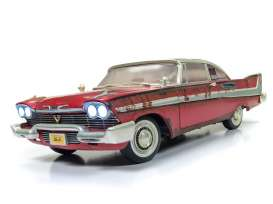 Autoworld 1:18 1983年 映画「クリスティーン」 1958年モデル プリムス フューリー レッド1958 Plymouth Fury Christine Dirty Version, red with rust like in the beginning of the Movie 1/18 by Autoworld