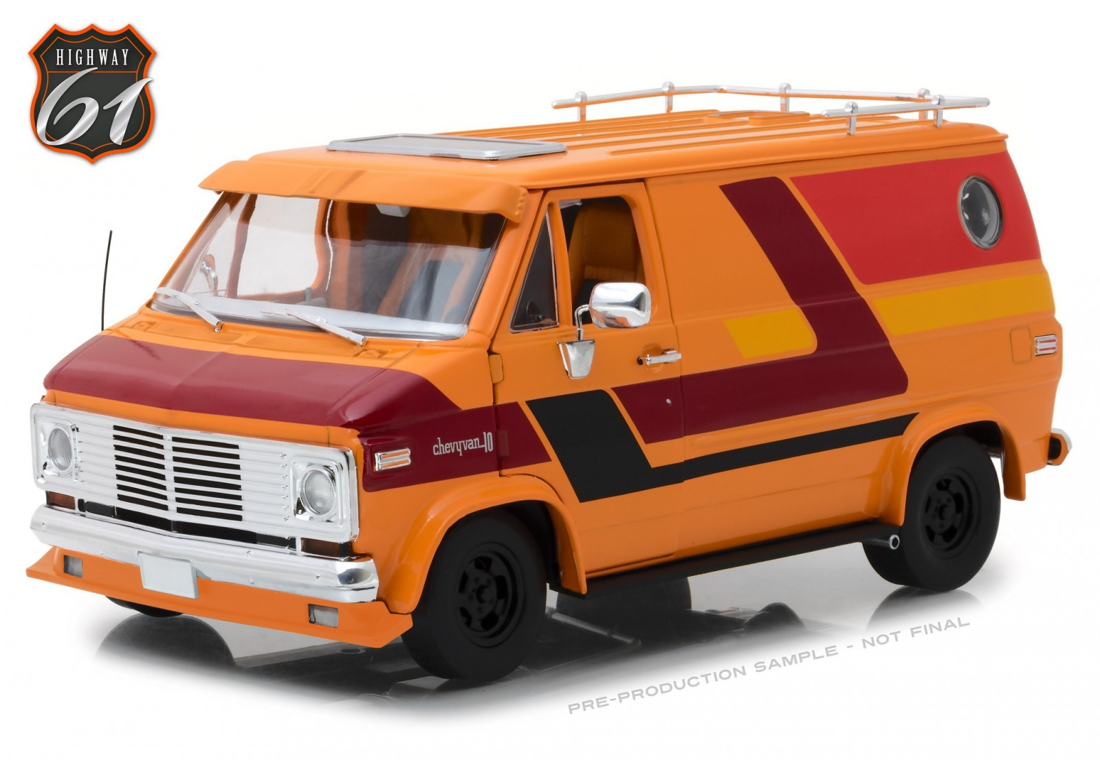 Highway 61 1:18 1976年モデル シボレー G Series Van オレンジHighway 61 1976 Chevrolet G-Series Van - Orange w Custom Graphics 1:18 USA NEW