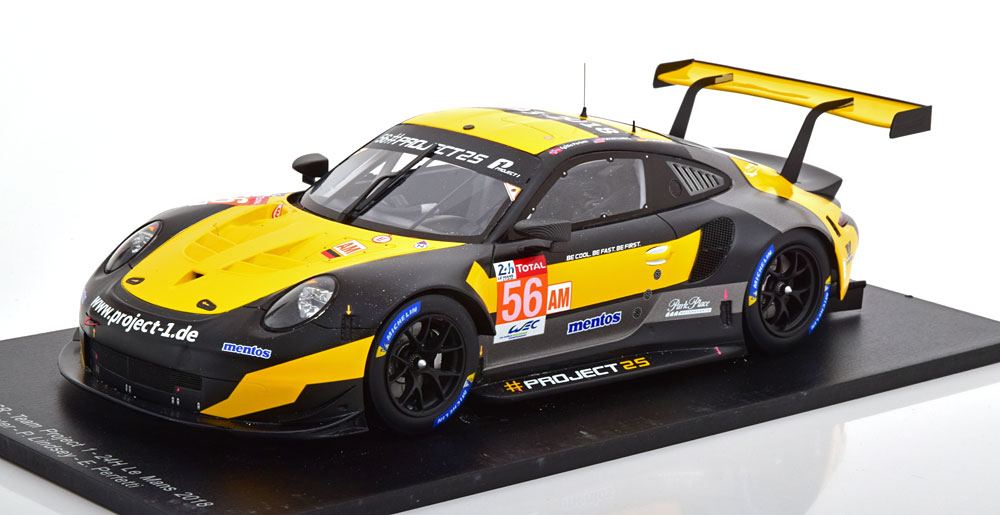Spark 1:18スケール レジンプロポーションモデル 2018年ルマン24時間 ポルシェ 911 991 RSR No.56PORSCHE - 911 991 RSR TEAM PROJECT 1 N 56 34th 24h LE MANS 2018 J.BERGMEISTER - P.LINDSEY - E.PERFET 1/18 by Spark