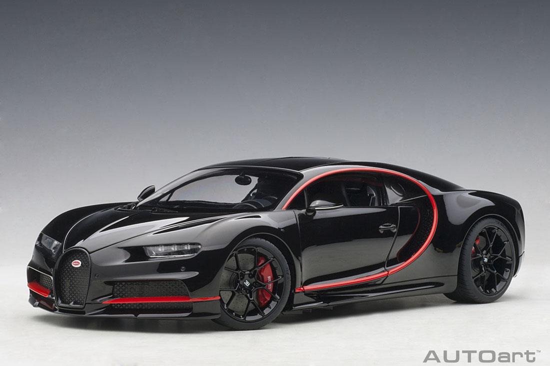 AUTOart オートアート 1/18 ミニカー コンポジットダイキャストモデル 2017年モデル ブガッティ シロン ブラック・レッドアクセント2017 Bugatti Chiron 1:18 黒 w/赤 accents by AUTOart
