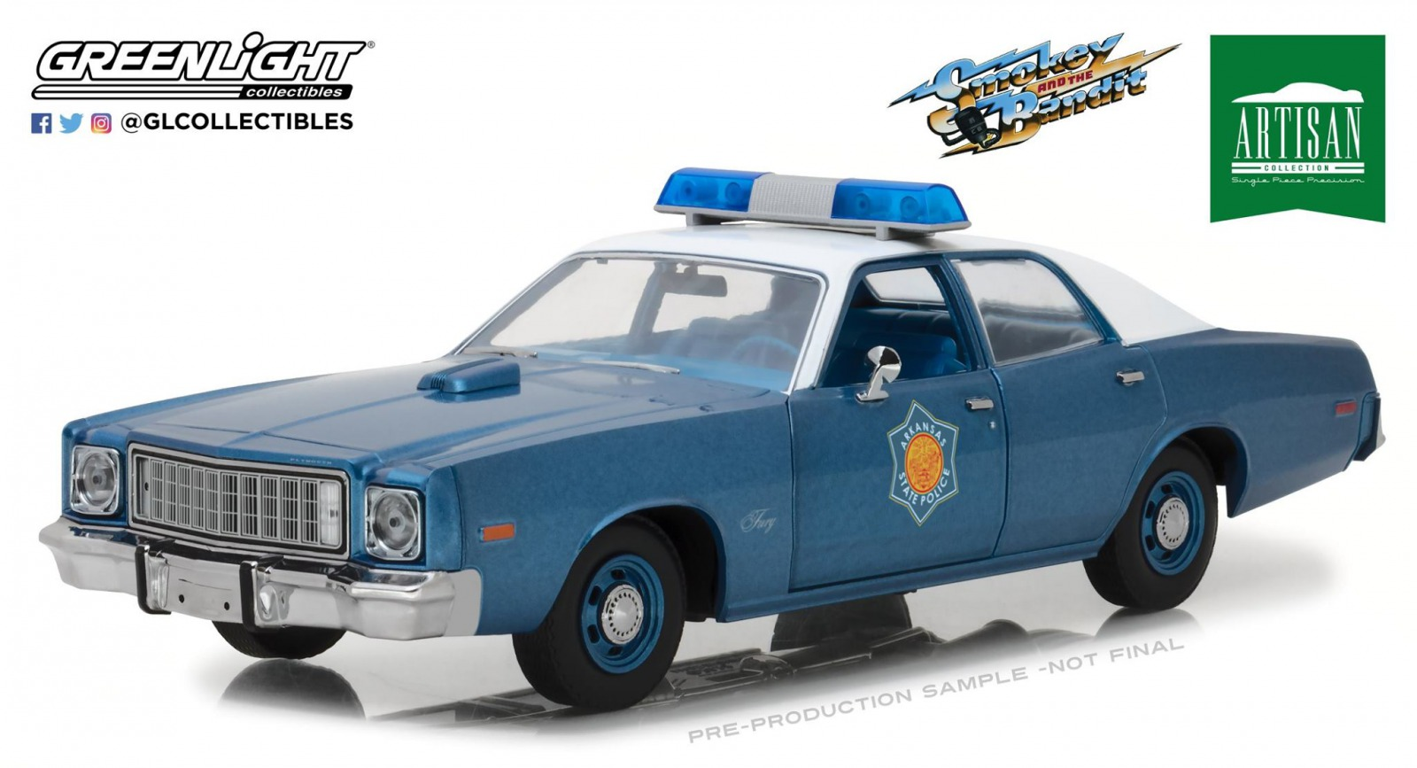 Greenlight グリーンライト 1:18 1975年モデル プリムス フューリー アーカンサス警察 「トランザム7000」1975 Plymouth Fury Arkansas State Police Smokey and the Bandit (1977) 1/18 by Greenlight NEW