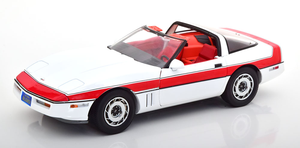 Greenlight グリーンライト 1/18 ミニカー ダイキャストモデル 1984年モデル シボレー コルベット C4「特攻野郎Aチーム」1984 Chevrolet Corvette C4 *The A-Team (1983-87 TV Series)*, white/red
