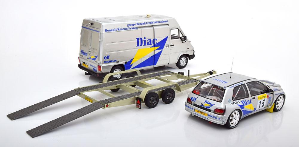 Otto Mobile オットモビル 1/18 ミニカー レジン・プロポーションモデル 1995年ラリーモンテカルロ ルノー クリオ Maxi 2台セットモデル1995 Rally Set Monte Carlo #15 Clio Maxi, Bugalski/Renaud MC, silver/blue/yellow