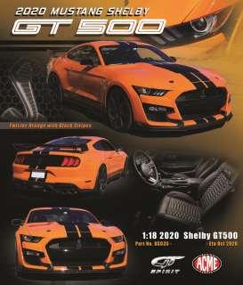 GT Spirit 1/18 ミニカー レジン プロポーションモデル 2020年モデル フォード マスタング GT500 オレンジ2020 FORD MUSTANG SHELBY GT500 1:18 Twister Orange w/black stripes by GT Spirit
