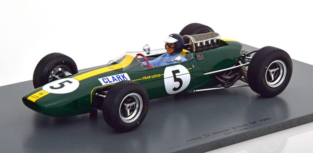 Spark 1/18 ミニカー レジン プロポーションモデル 1965年英国GP 優勝モデル ロータス 33 No.5 Jim ClarkLotus 33 No.5 Jim Clark Winner British GP 1965 1:18 Spark